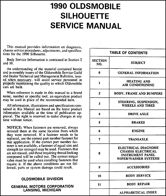 1990 oldsmobile silhouette van repair shop manual original rh faxonautoliterature com 2001 oldsmobile silhouette repair manual free download 2003 oldsmobile silhouette repair manual