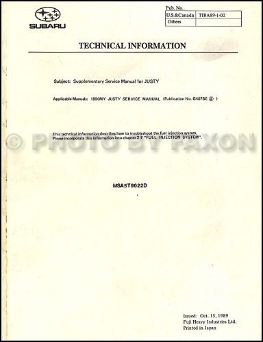 1990 Subaru Justy Fuel Injection Repair Manual Supplement Original