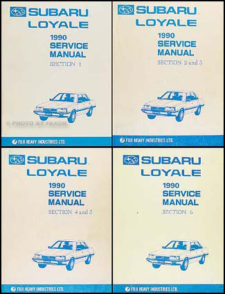 1990 Subaru Loyale Repair Manual Original 6 Section Set