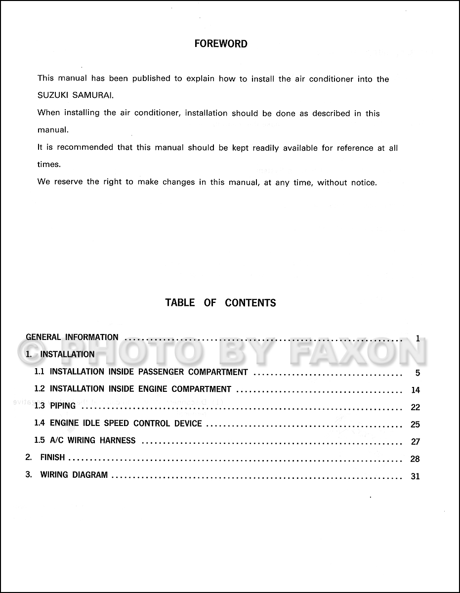 1990 Suzuki Samurai Air Conditioner Installation Manual Original 1986 Engine Wiring Diagram