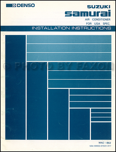 1986-1987 Suzuki Samurai A/C Installation Instructions Original