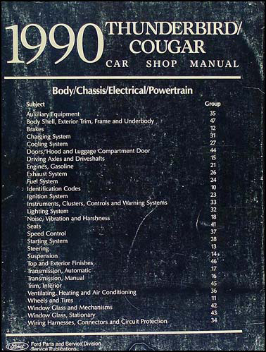 1990 Ford Thunderbird & Mercury Cougar Shop Manual Original