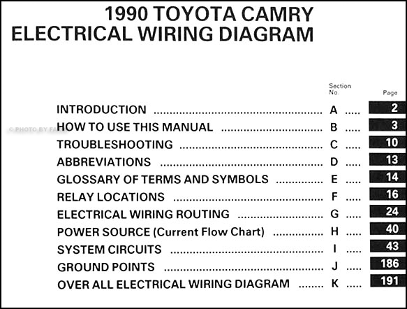 1990 toyota camry wiring diagram manual original  faxon auto literature