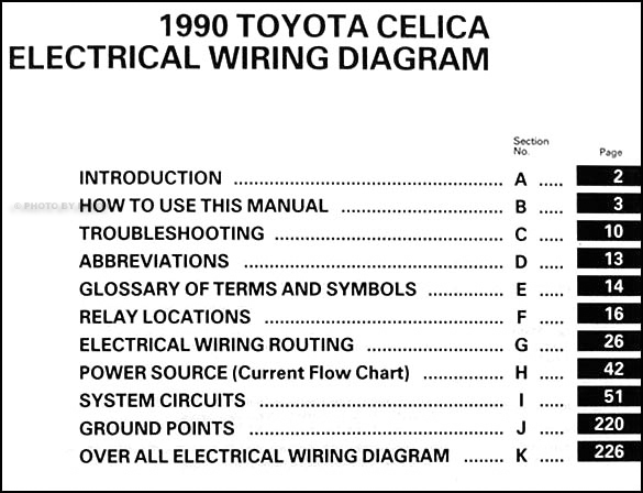 1990 Toyota Celica Wiring Diagram Manual Original
