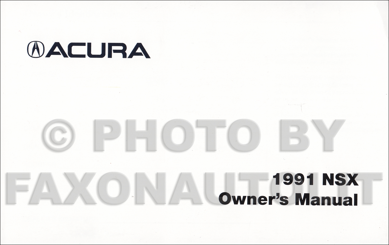 1991 Acura NSX Owners Manual Factory Reprint