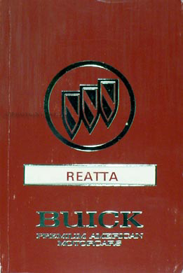 1991 Buick Reatta Original Owner's Manual 91