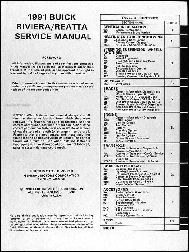 original 1991 buick riviera and reatta shop manual 91 oem repair service  book service & repair manuals