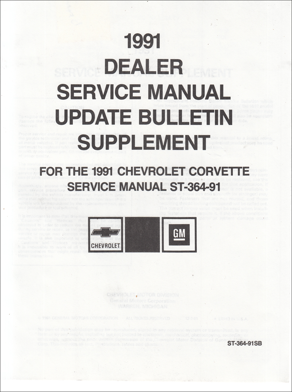 1991 Chevrolet Corvette Shop Manual Manual Service Bulletin Supplement Update