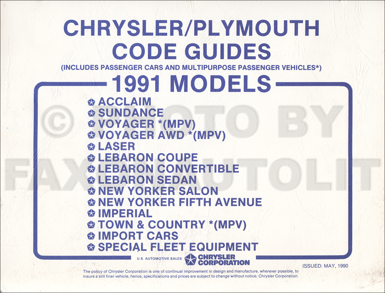 1991 Chrysler Plymouth Ordering Code Guide Original