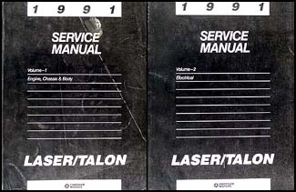 1991 Plymouth Laser and Eagle Talon Shop Manual Original 2 Volume Set