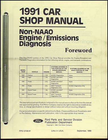 1991 Probe Festiva Escort Tracer Capri Engine Diagnosis Manual