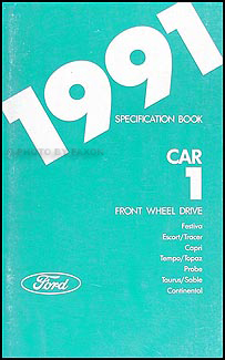 1991 Ford Lincoln Mercury FWD Car Service Specifications Book Original