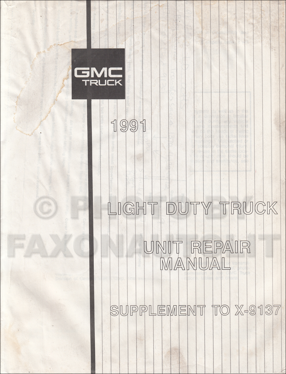 1991 Gmc S15 Sonoma Pickup Jimmy Wiring Diagram Manual Original