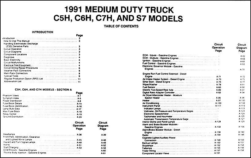 1991 Gmc  Chevy Topkick  Kodiak   U0026 S7 Wiring Diagram Manual
