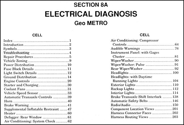 1991 geo metro electrical diagnosis manual original Geo Metro Ac Wiring