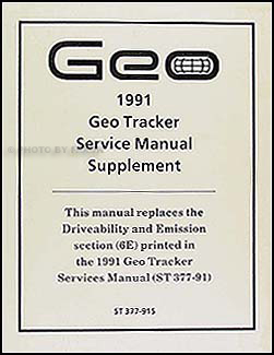 1991 Geo Tracker Driveability/Emission Supplement Original
