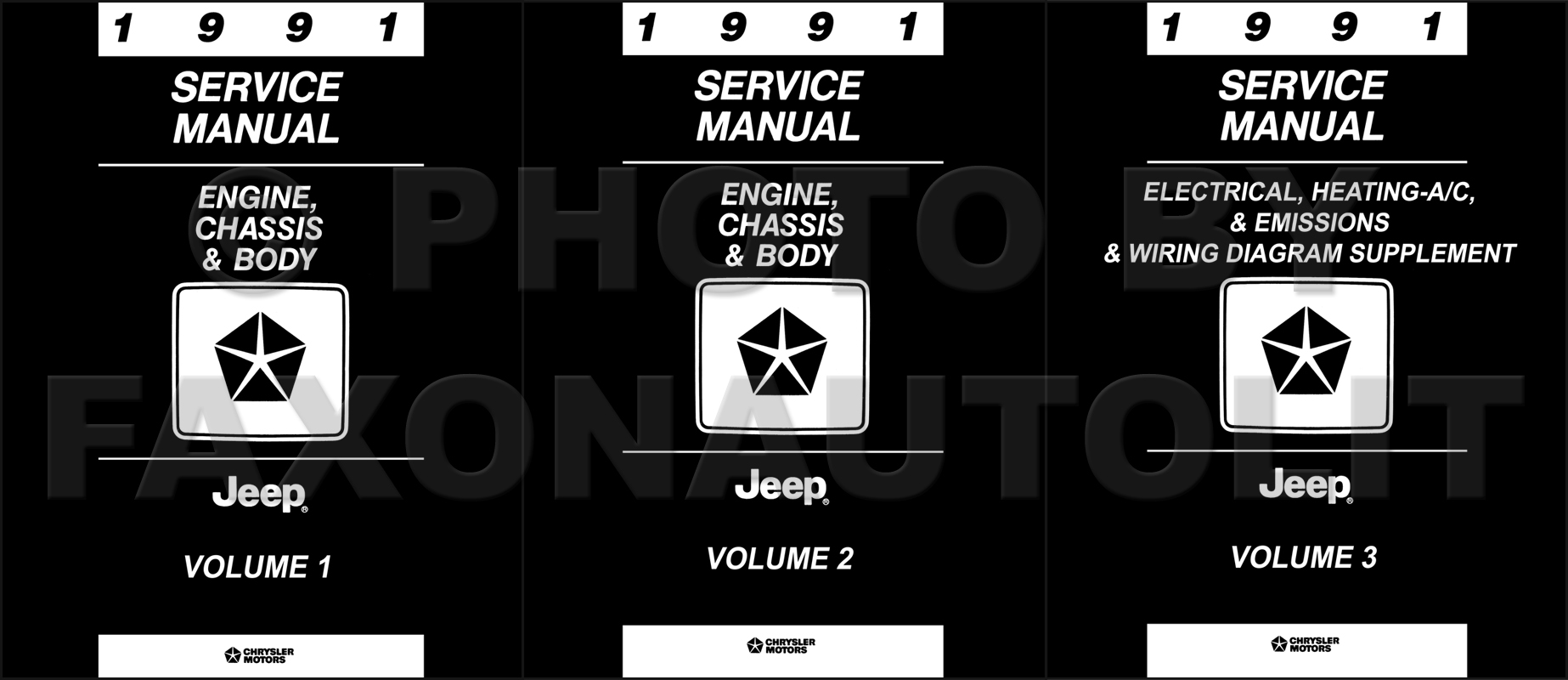 1991 Jeep Shop Manual Original 3 Volume Set--All Models