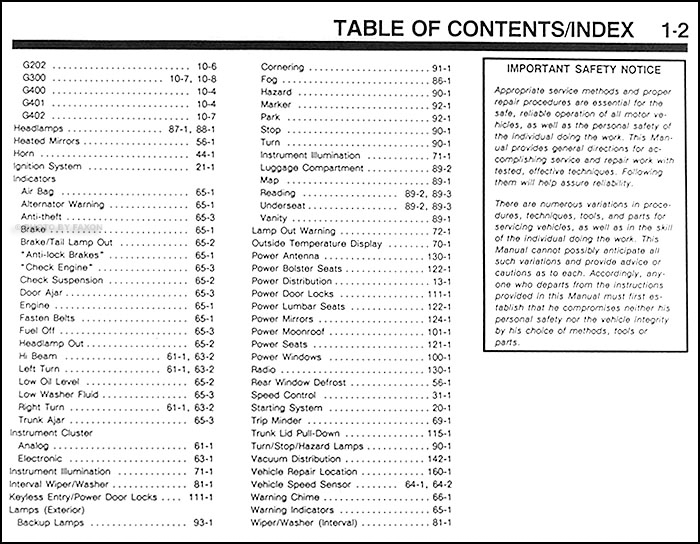 1991 lincoln mark vii electrical and vacuum troubleshooting manualtable of contents page 2