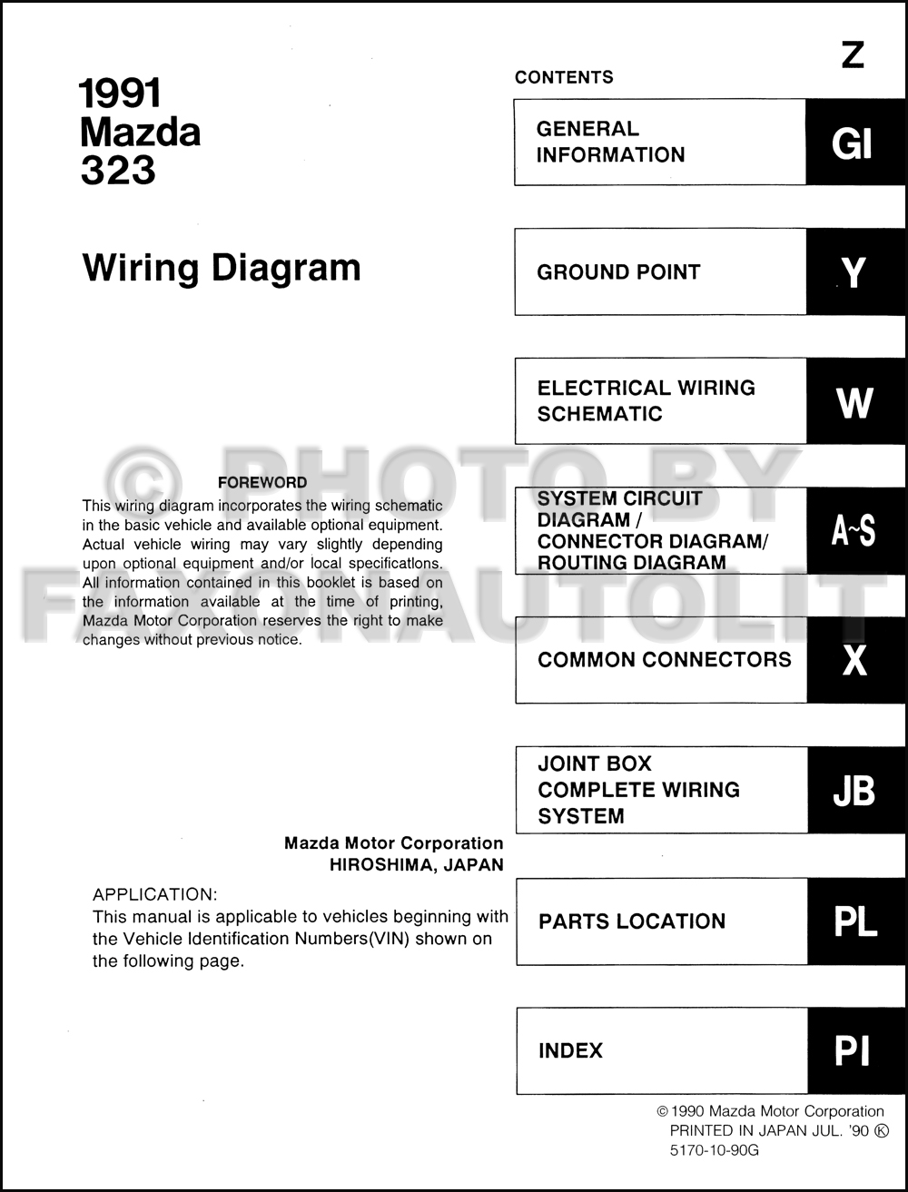 1991 Mazda 323 And Protege Wiring Diagram Manual Original