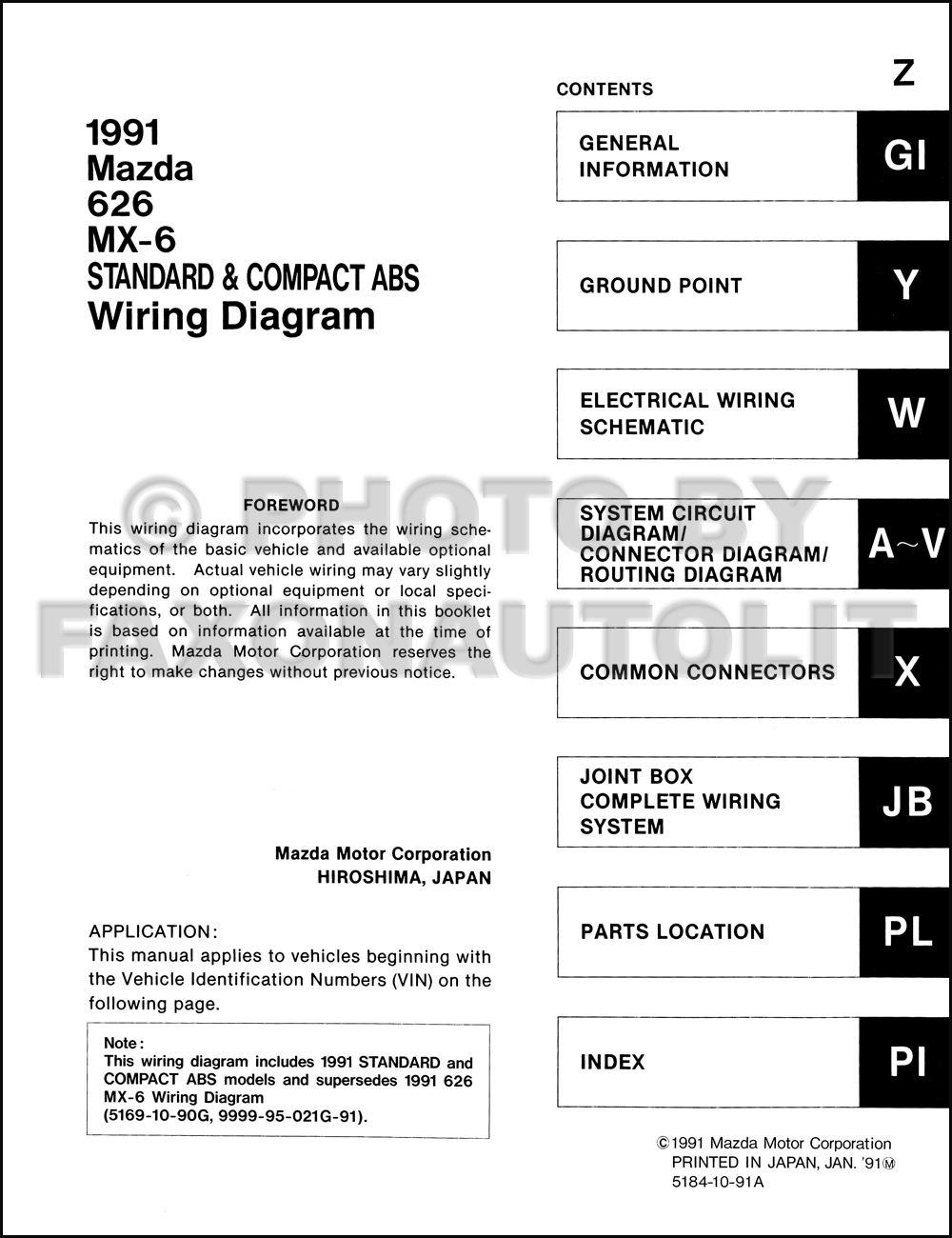 91 Mazda Miata Wiring Diagram Library 1994 Late 1991 626 And Mx 6 Manual Original 1999