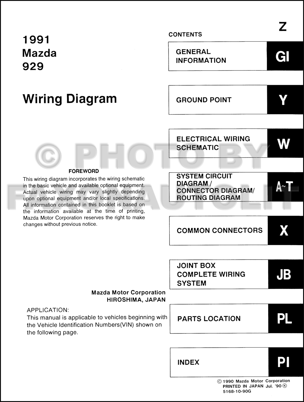 Mazda 929 Wiring Diagram Reinvent Your 2005 3 Engine 1991 Manual Original Rh Faxonautoliterature Com Miata Tribute Diagrams