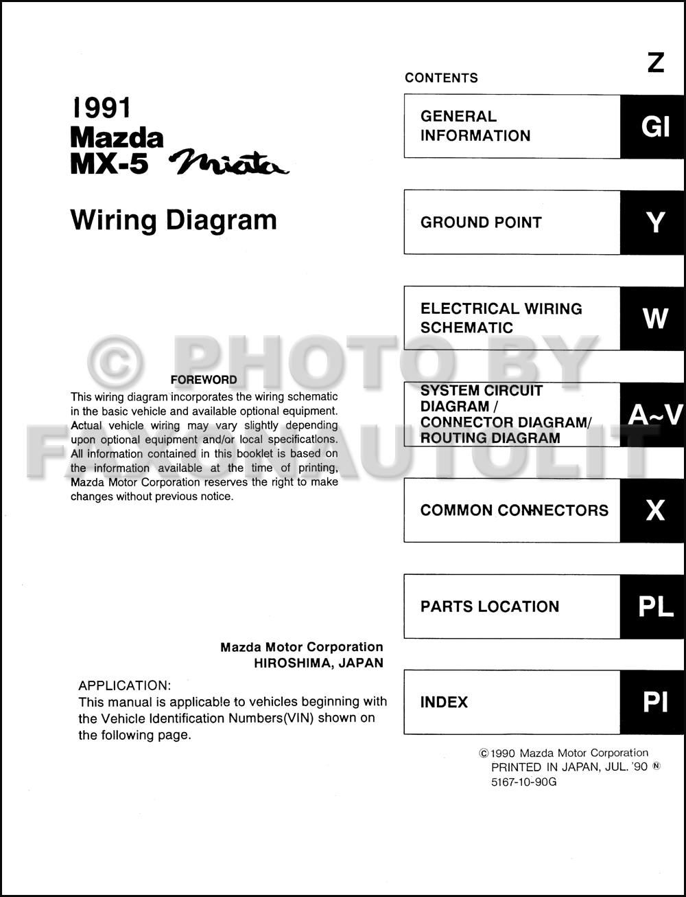 1991    Mazda    MX5 Miata    Wiring       Diagram       Manual    Original