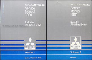 1991 Mitsubishi Eclipse Repair Manual Set Original
