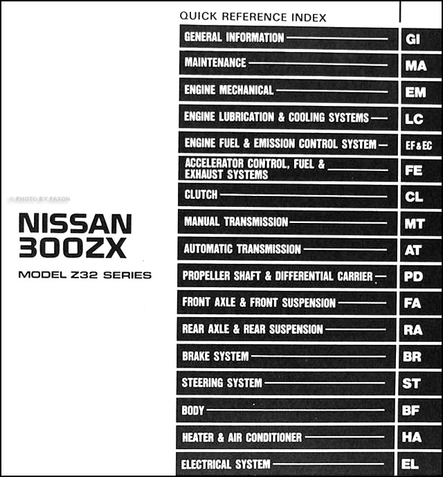 1991 nissan 300zx repair shop manual original rh faxonautoliterature com 300zx service manual pdf download 300zx shop manual pdf
