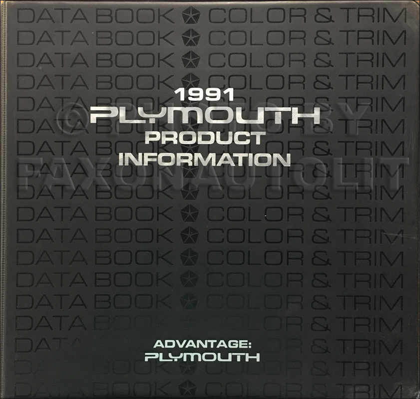1991 Plymouth Color & Upholstery Album and Data Book Original