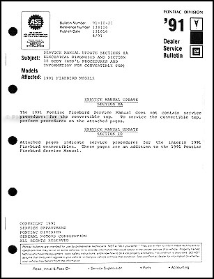 1991 Pontiac Firebird and Trans Am Convertible Top Service Manual