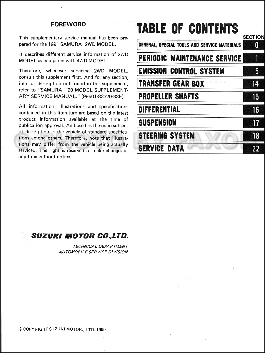 1989 Suzuki Samurai Repair Manual Supplement Original · Table of Contents