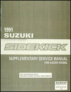 1991 Suzuki Sidekick 4 Door Repair Manual Supplement Original