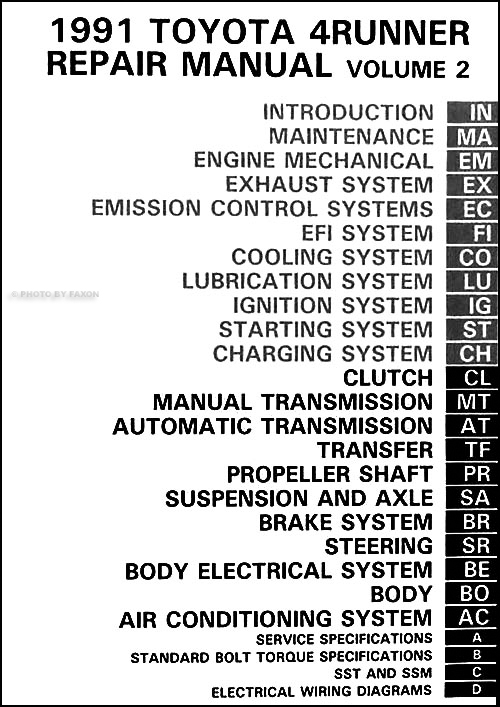 1991Toyota4RunnerORM TOC 1991 toyota 4runner repair shop manual set original