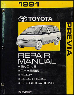 1991 Toyota Previa Van Repair Manual Original