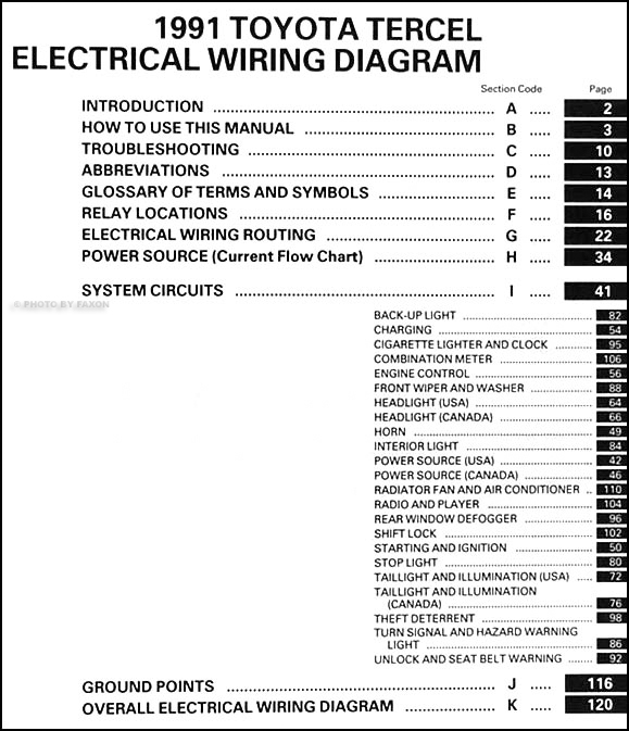1991 Toyota Tercel Wiring Diagram Manual Original Table Of Contents