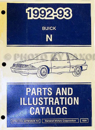 1992-93 Buick Skylark Parts Book Original