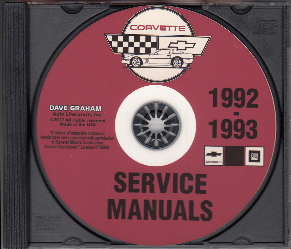 1992-1993 Chevrolet Corvette Service Manual 92 Final and 93 Preliminary on CD-ROM