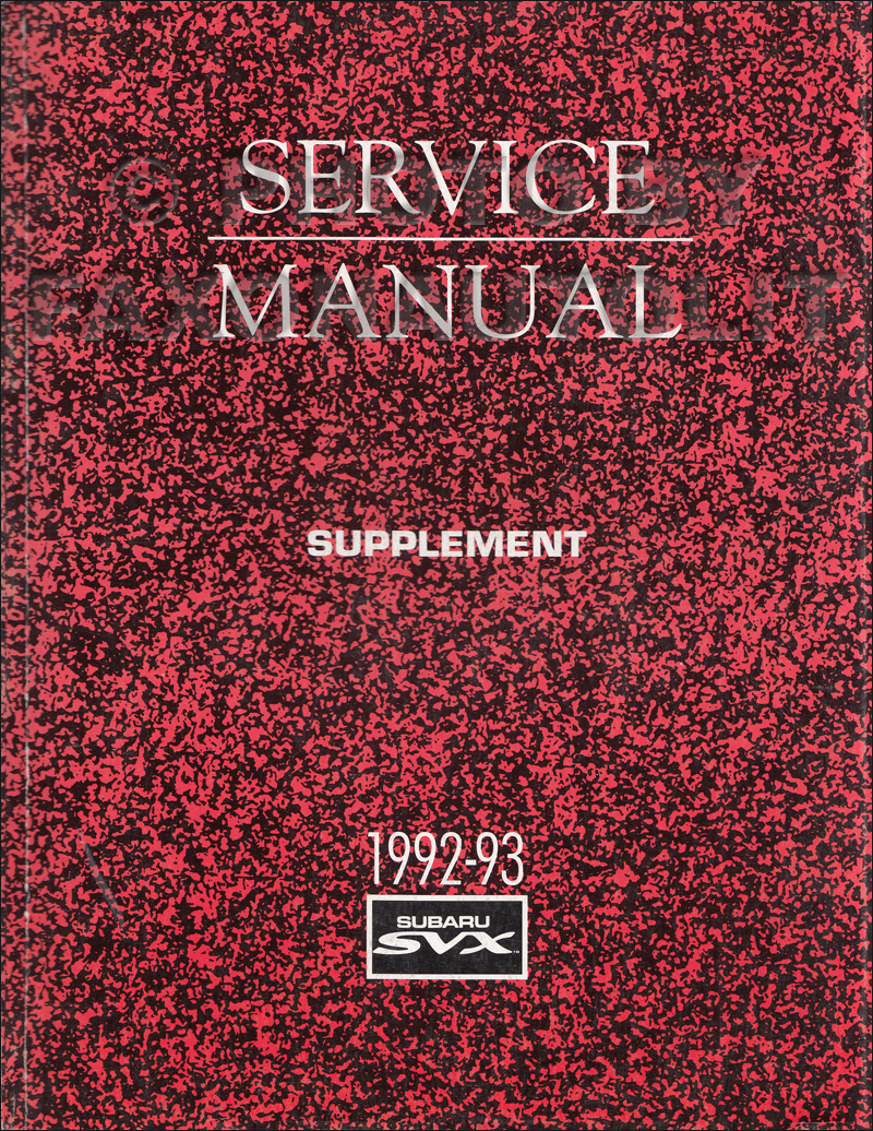 1996 Subaru SVX Repair Manual Supplement Original
