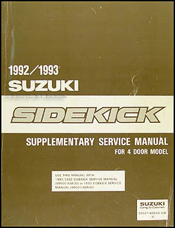 1992-1993 Suzuki Sidekick 4 Door Repair Manual Supplement Original