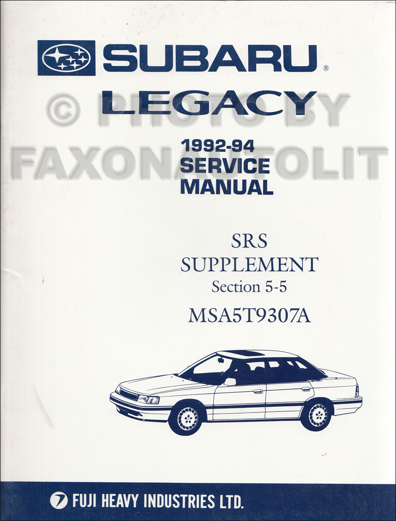 1995 Subaru Legacy Repair Manual Supplement Original