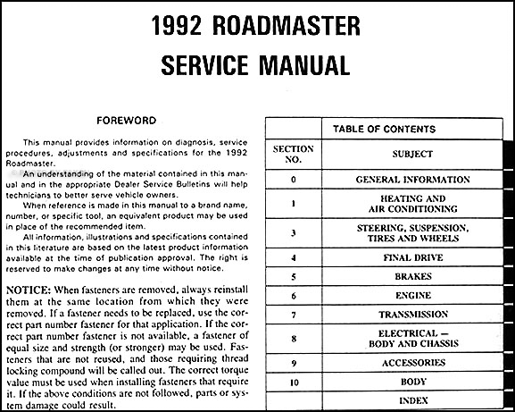 1992 buick roadmaster repair shop manual original rh faxonautoliterature com 1970 Buick Century 1973 Buick Century