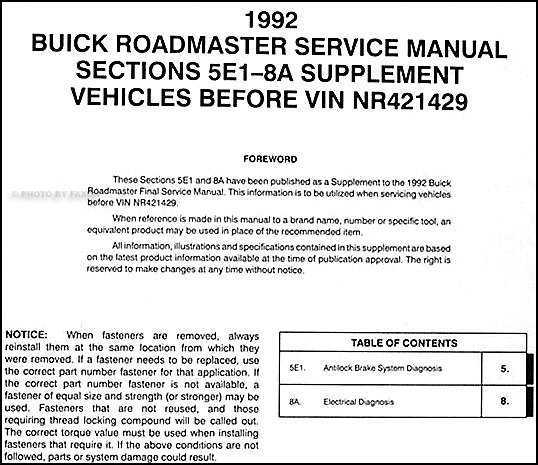 1992 buick roadmaster abs & electrical repair shop manual sup  sec 5e1/8a  before vin nr421429x