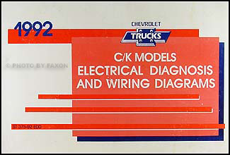 1992 Chevy C/K Pickup, Suburban, Blazer Wiring Diagram Manual Original