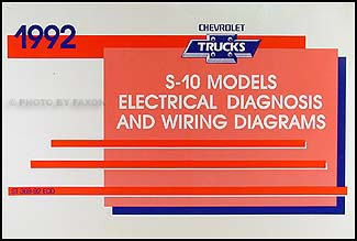 1992 chevy s-10 pickup & blazer wiring diagram manual original  faxon auto literature