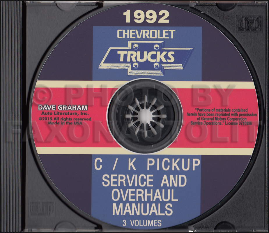 1992 Chevrolet C/K Truck Service and Overhaul Manuals on CD Pickup Suburban Blazer