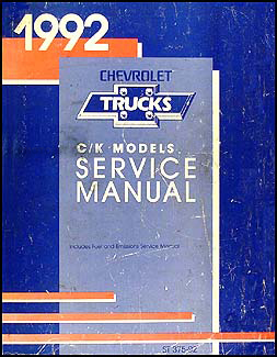 1992 Chevy C/K Pickup Truck Suburban Blazer Repair Shop Manual Original