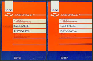 1992 Chevy Corsica & Beretta Repair Manual Original 2 Volume Set