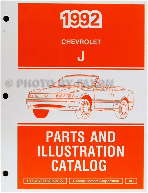 1992 Chevrolet Cavalier Parts Book Original