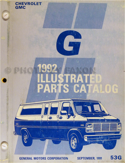 1992 Chevrolet and GMC Full-Sized Van Parts Book Original Beauville Rally Vandura