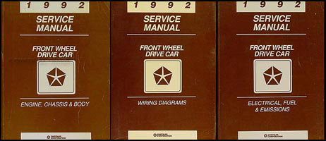 1992 FWD Repair Shop Manual: Chrysler LeBaron New Yorker Imperial Dodge Spirit Dynasty Daytona Shadow Plymouth Acclaim Sundance